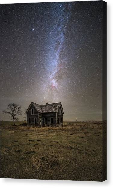 Old Houses Canvas Print - Lonely House by Aaron J Groen