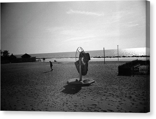 Lonely Man In Ostia Beach Canvas Print
