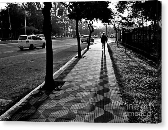 Lonely Man Walking At Dusk In Sao Paulo Canvas Print