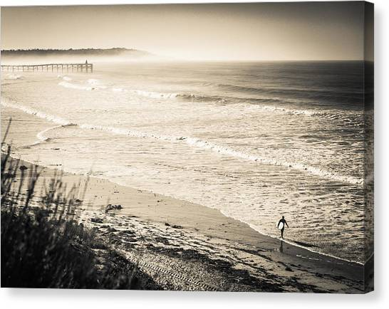 Canvas Print featuring the photograph Lonely Pb Surf by T Brian Jones