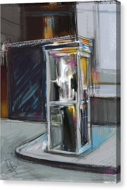 Lonely Phone Booth Canvas Print by Russell Pierce