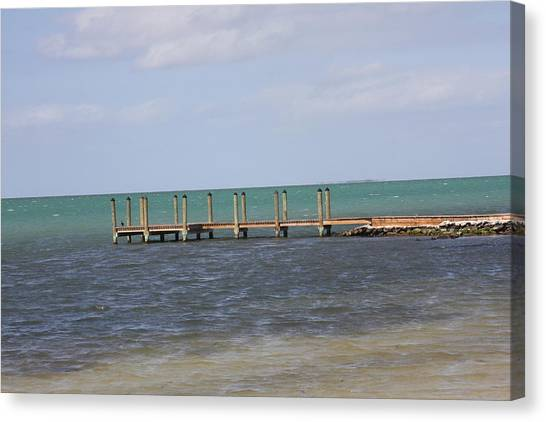 Lonely Pier Canvas Print by Bonnes Eyes Fine Art Photography