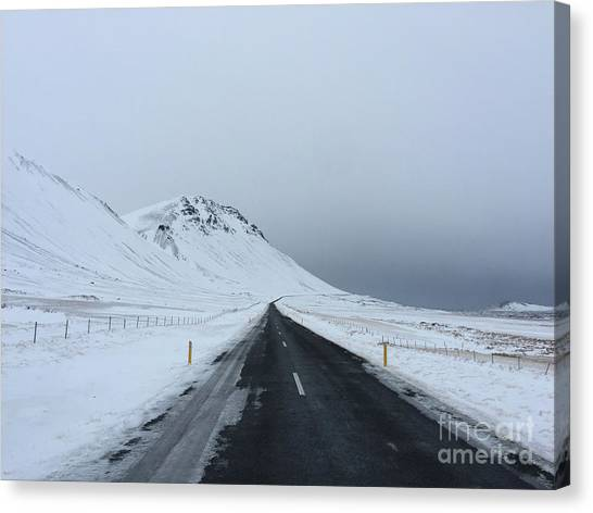 Lonely Road On Snaefellsnes Peninsula Canvas Print