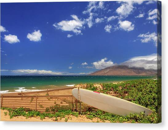 Surfboard Fence Canvas Print - Lonely Surfboard by James Eddy