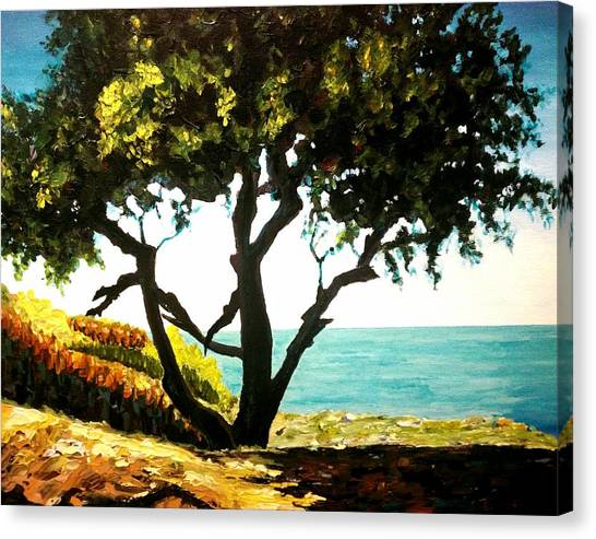 Canvas Print featuring the painting Lonely Tree By The Beach by Ray Khalife