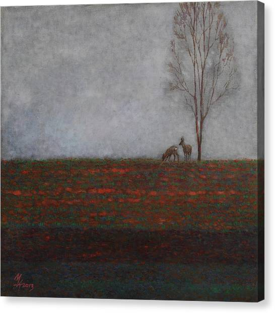 Lonely Tree With Two Roes Canvas Print