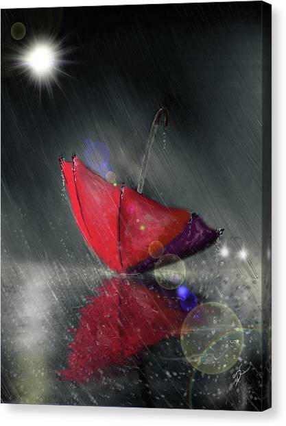 Canvas Print featuring the digital art Lonely Umbrella by Darren Cannell