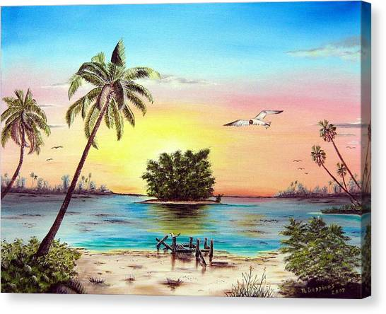 Lonesome Florida Cay Canvas Print by Riley Geddings