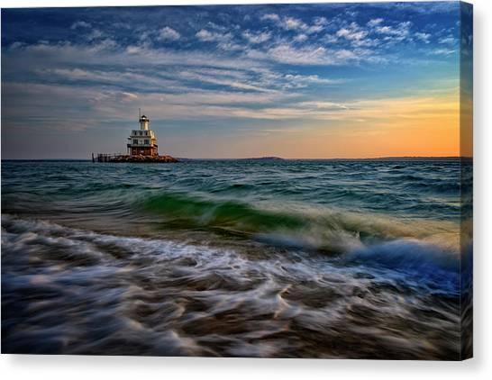 Long Beach Bar Lighthouse Canvas Print