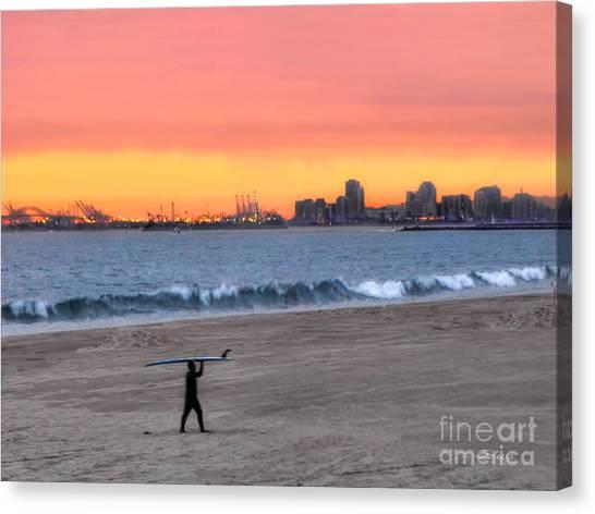 Long Beach From Huntington Beac Canvas Print