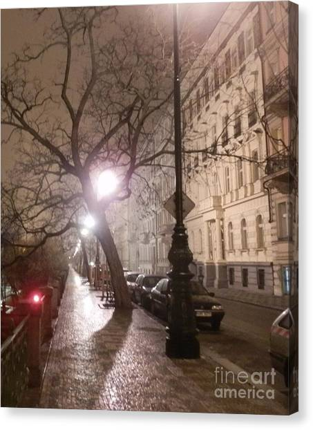 Long Cobblestone Street Of Prague Canvas Print