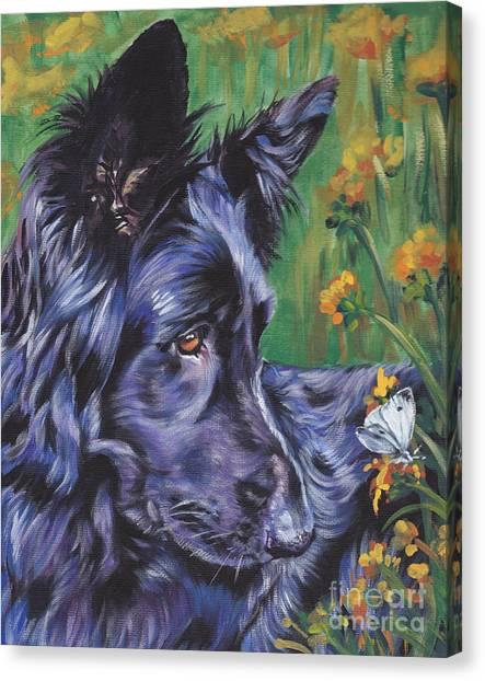 German Shepherd Canvas Print - Long Hair Black German Shepherd by Lee Ann Shepard