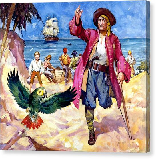 John Boats Canvas Print - Long John Silver And His Parrot by James McConnell