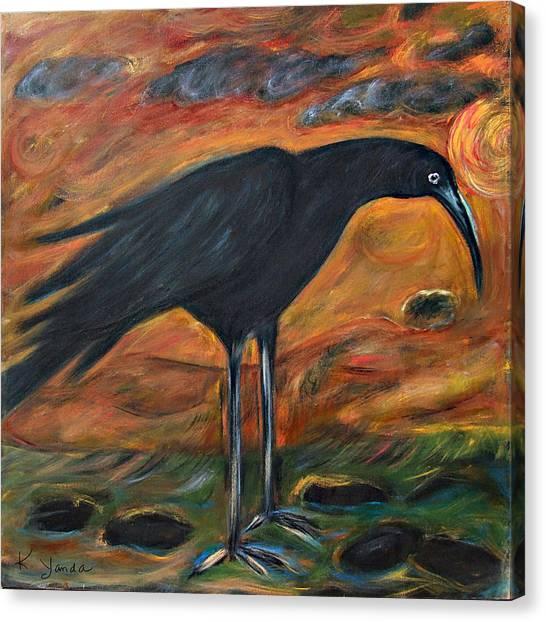 Long Legged Crow Canvas Print