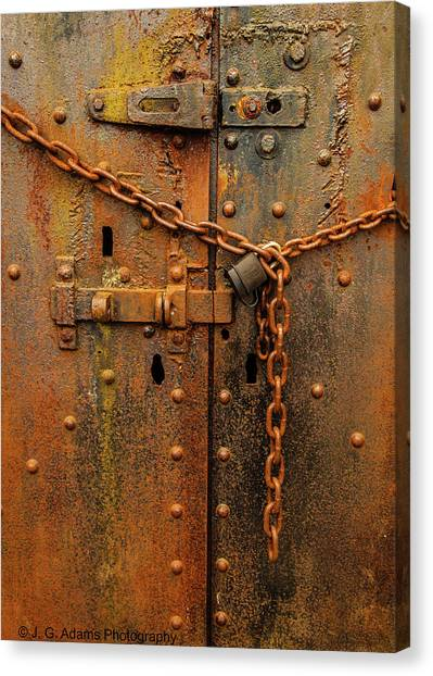 Long Locked Iron Door Canvas Print