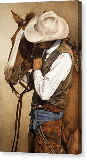 Horses Canvas Print - Long Time Partners by Pat Erickson