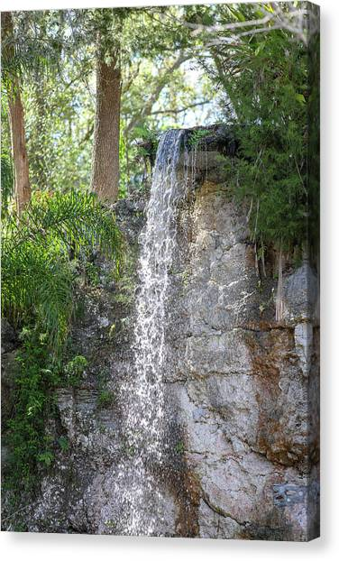 Canvas Print featuring the photograph Long Waterfall Drop by Raphael Lopez
