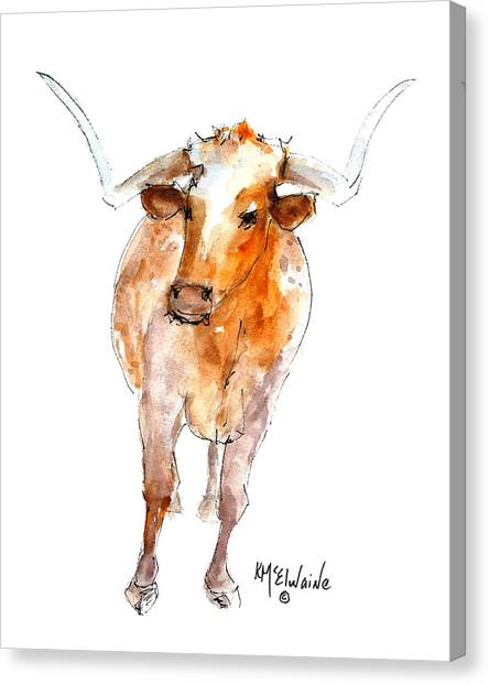 Longhorn 1 Watercolor Painting By Kmcelwaine Canvas Print