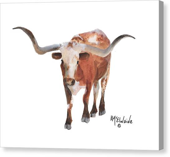 Longhorn 17 Big Daddy Watercolor Painting By Kmcelwaine Canvas Print