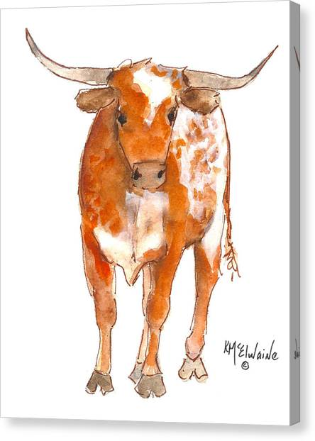 Texas Red Longhorn Watercolor Painting By Kmcelwaine Canvas Print