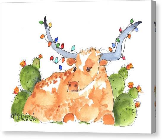 Longhorn Christmas Canvas Print