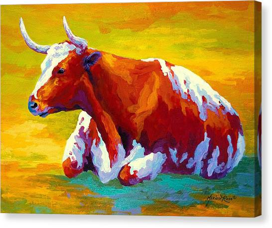 Cow Farms Canvas Print - Longhorn Cow by Marion Rose