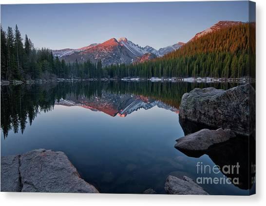 Longs Peak Reflection On Bear Lake Canvas Print
