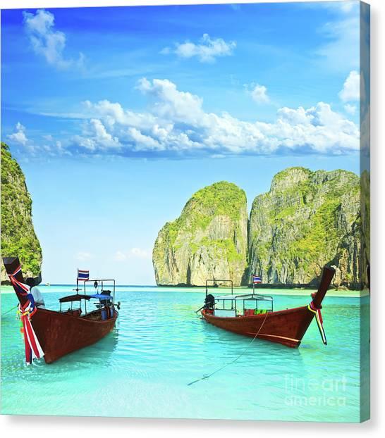 Phi Phi Island Canvas Print - Longtail Boats At Maya Bay by MotHaiBaPhoto Prints