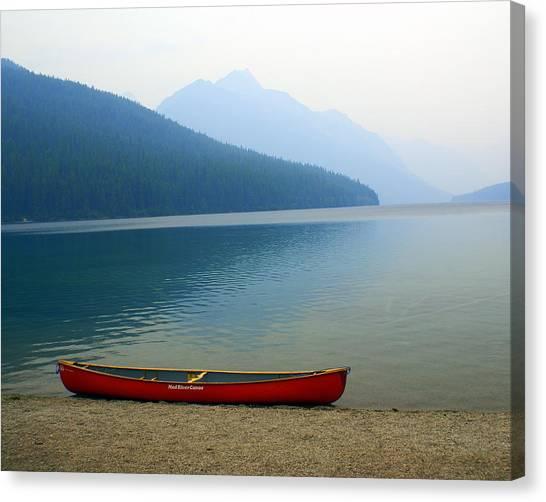 Lonly Canoe Canvas Print
