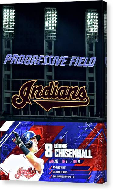 Cleveland Indians Canvas Print - Lonnie Chisenhall by Frozen in Time Fine Art Photography