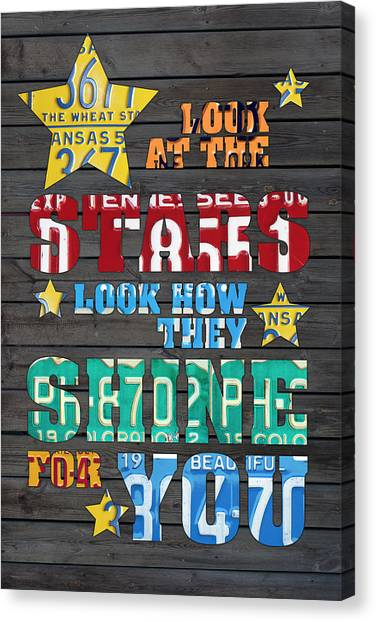 Coldplay Canvas Print - Look At The Stars Coldplay Yellow Inspired Typography Made Using Vintage Recycled License Plates by Design Turnpike