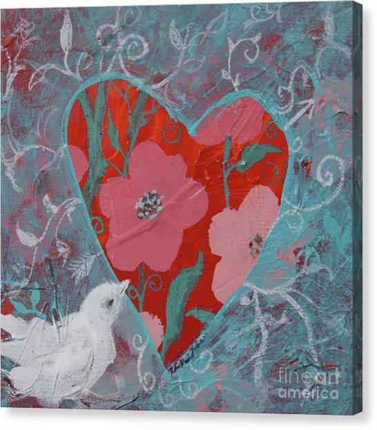 Canvas Print featuring the painting Look Into My Heart  by Robin Maria Pedrero