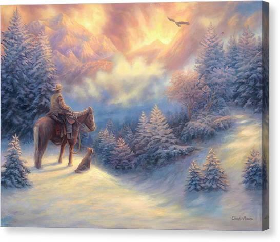 Cowboy Canvas Print - Looking Ahead by Chuck Pinson