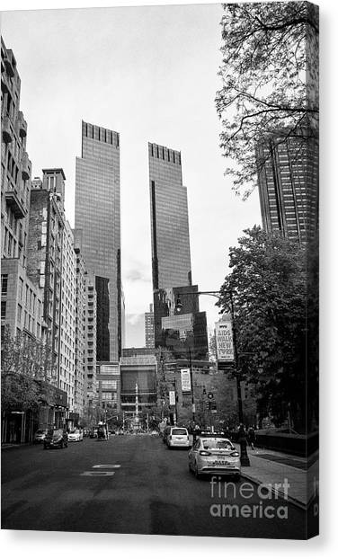 Warner Park Canvas Print - looking along central park south towards columbus circle and the time warner center New York City US by Joe Fox