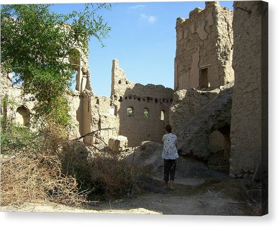 Looking At The Old Ruins Canvas Print by Sunaina Serna Ahluwalia