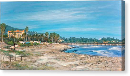 Looking Back At Surfers Point Canvas Print by Tina Obrien