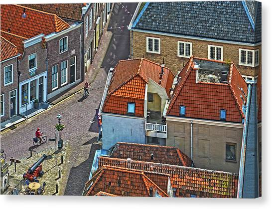 Looking Down From The Church Tower In Brielle Canvas Print