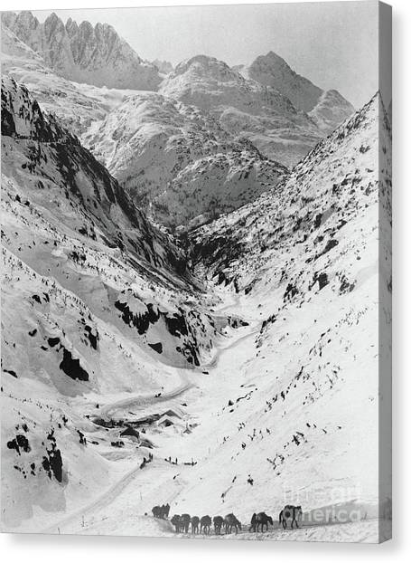 Yukon Canvas Print - Looking Down Through Cutoff Canyon From Half Mile Below White Pass Summit, During The Klondike Gold  by American School