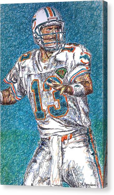 Dan Marino Canvas Print - Looking Downfield by Maria Arango