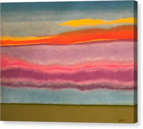 Looking East At Dusk Avon By The Sea Canvas Print by Harvey Rogosin