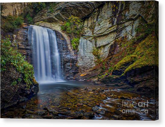 Canvas Print featuring the photograph Looking Glass Falls In The Blue Ridge Mountains Brevard North Carolina by T Lowry Wilson