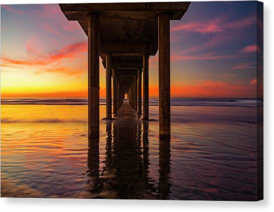 Scripps Pier Canvas Print - Looking Glass by Peter Irwindale