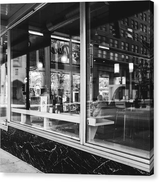 Looking Into A Diner. Black And White Street Photography. Canvas Print by Dylan Murphy
