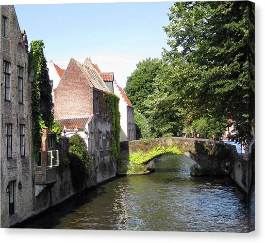 Looking Out On The Canal Canvas Print by David L Griffin