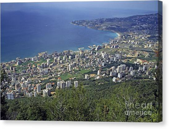 Looking Over Jounieh Bay From Harissa Canvas Print by Sami Sarkis