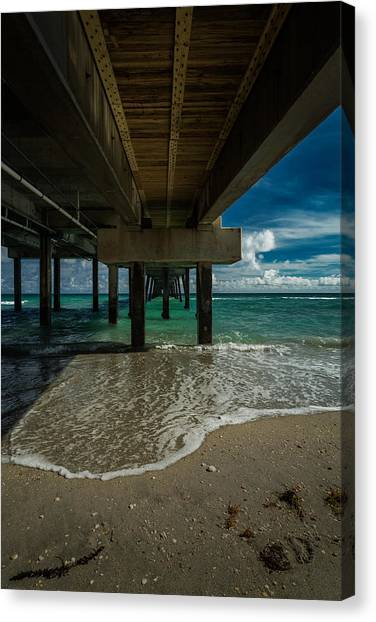 Looking Under The Pier Canvas Print