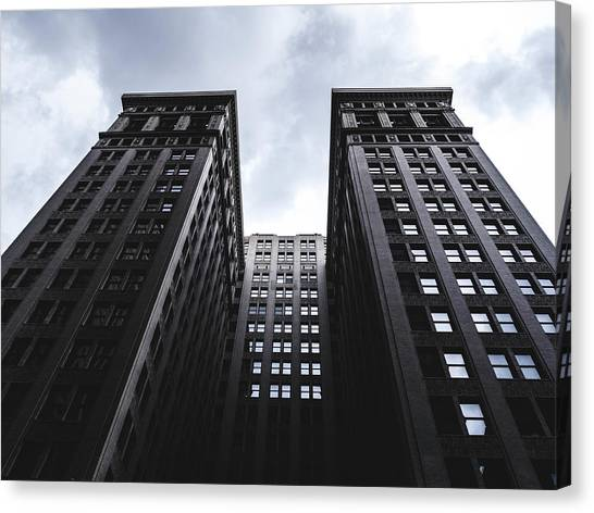 Looking Up At Building In St. Louis Canvas Print by Dylan Murphy
