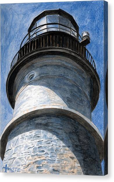 Canvas Print featuring the painting Looking Up Portland Head Light by Dominic White