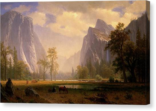 Looking Up The Yosemite Valley  Canvas Print
