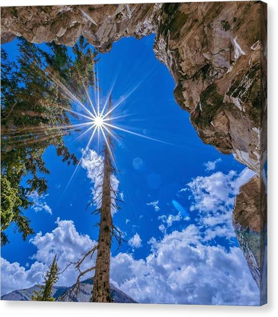 Spelunking Canvas Print - Looking Up To The Sun To Say Goodbye As by Nancy Guerin